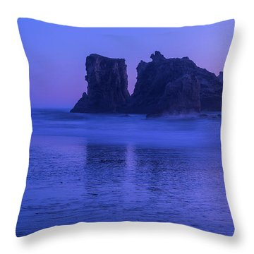 Seastack Sunset In Bandon Throw Pillow