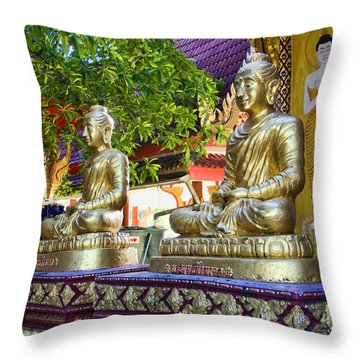 Seated Buddhas Throw Pillow