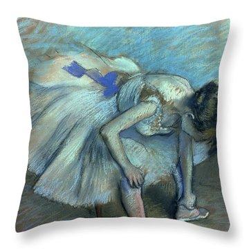Seated Dancer Throw Pillow by Edgar Degas