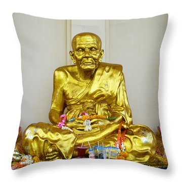 Seated Holy Man At Koh Samui Throw Pillow