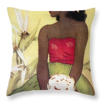 Seated Hula Dancer Throw Pillow by Hawaiian Legacy Archives - Printscapes