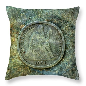 Throw Pillow featuring the digital art Seated Libery Dime Coin Obverse by Randy Steele