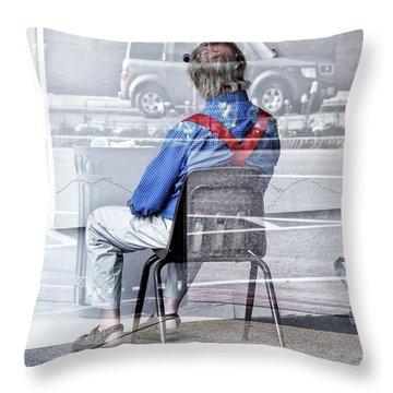 Seated Man Throw Pillow