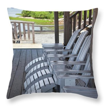 Throw Pillow featuring the photograph Seating By The Sea - Montauk by Art Block Collections