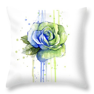 Seattle 12th Man Seahawks Watercolor Rose Throw Pillow