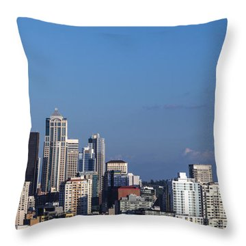 Seattle And Mt Rainier Throw Pillow