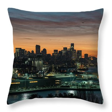 Seattle And Pier 90 Sunrise Throw Pillow