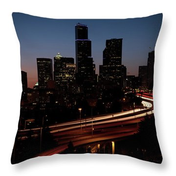 Seattle At Dusk Throw Pillow