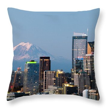 Seattle At First Light II Throw Pillow by E Faithe Lester