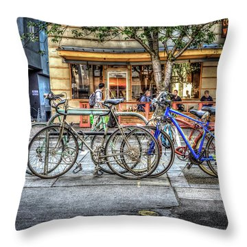 Throw Pillow featuring the photograph Seattle Bicycles by Spencer McDonald