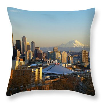 Seattle Cityscape Throw Pillow by Greg Vaughn - Printscapes