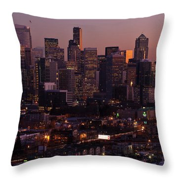 Seattle Dusk Throw Pillow by Mike Reid