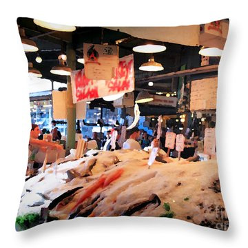 Seattle Fish Throw Pike St Market Throw Pillow