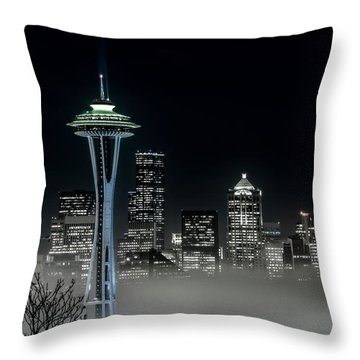 Seattle Foggy Night Lights In Bw Throw Pillow