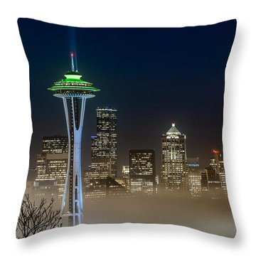 Seattle Foggy Night Lights Throw Pillow