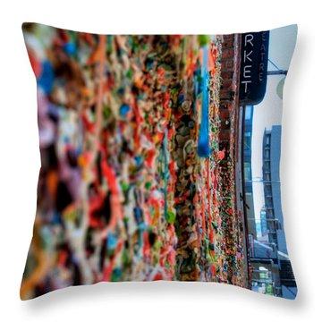 Seattle Gum Wall Throw Pillow by Spencer McDonald