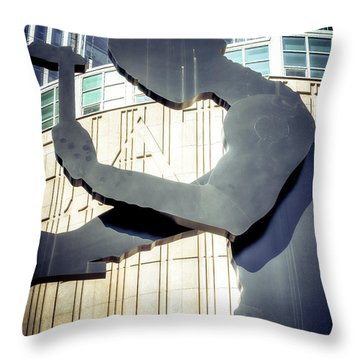 Seattle Hammering Man Throw Pillow by Spencer McDonald