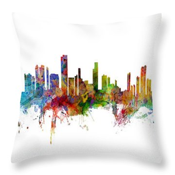 Seattle, Honolulu And Miami Skylines Mashup Throw Pillow
