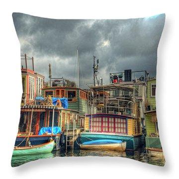 Seattle Houseboats Fine Art Photograph Throw Pillow