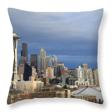 Seattle Throw Pillow by John Bushnell