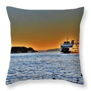 Seattle Mass Transit Throw Pillow by Frank Larkin