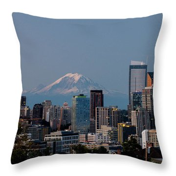 Seattle-mt. Rainier In The Morning Light .1 Throw Pillow