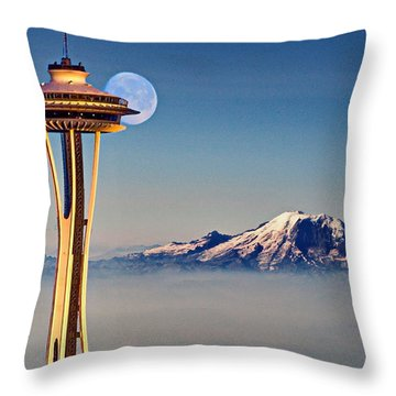 Seattle Needle At Moonrise Throw Pillow