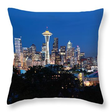 Throw Pillow featuring the photograph Seattle Panorama At Twilight by Peter Simmons