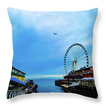 Seattle Pier 57 Throw Pillow