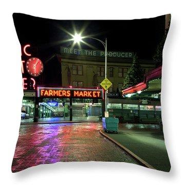 Seattle Public Market 1 Throw Pillow