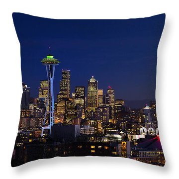 Seattle Seahawks Space Needle Throw Pillow by Mary Jo Allen