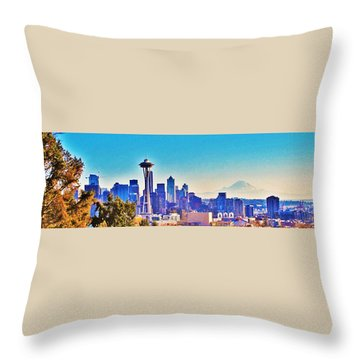 Seattle Sky Throw Pillow by Martin Cline