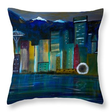 Seattle Skyiline Throw Pillow
