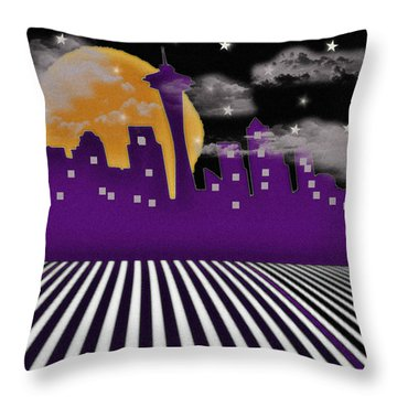 Throw Pillow featuring the digital art Seattle Skyline by Digital Art Cafe