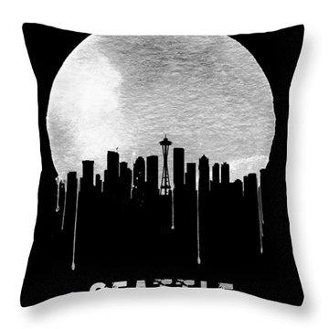 Seattle Skyline Black Throw Pillow by Naxart Studio