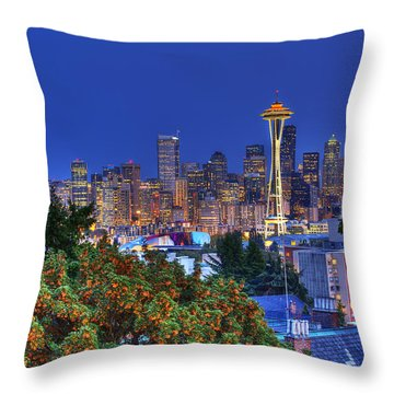Seattle Skyline In The Fall Throw Pillow