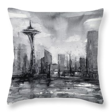Seattle Skyline Painting Watercolor  Throw Pillow by Olga Shvartsur