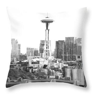 Seattle Skyline Splash And Dash Throw Pillow