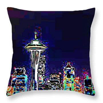 Seattle Skyline Throw Pillow by Tim Allen