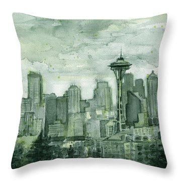 Seattle Skyline Watercolor Space Needle Throw Pillow by Olga Shvartsur