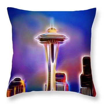 Throw Pillow featuring the photograph Seattle Space Needle 1 by Aaron Berg