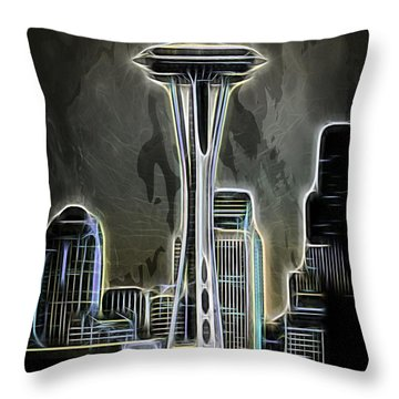 Throw Pillow featuring the photograph Seattle Space Needle 2 by Aaron Berg