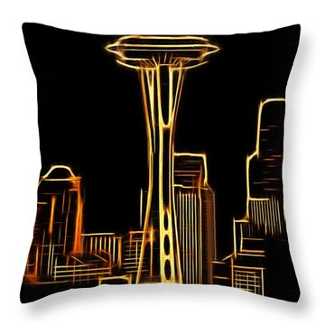 Throw Pillow featuring the photograph Seattle Space Needle 3 by Aaron Berg