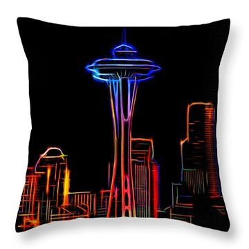 Throw Pillow featuring the photograph Seattle Space Needle 4 by Aaron Berg