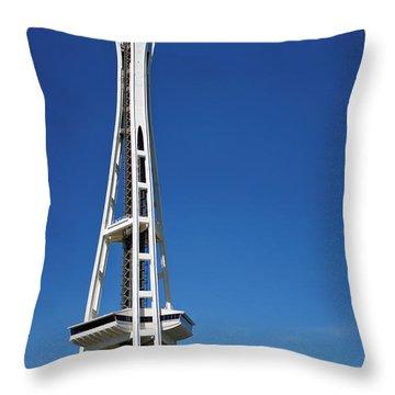 Seattle Space Needle Throw Pillow by Adam Romanowicz