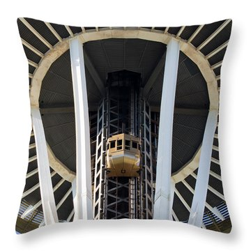 Throw Pillow featuring the photograph Seattle Space Needle Elevator by Chris Dutton