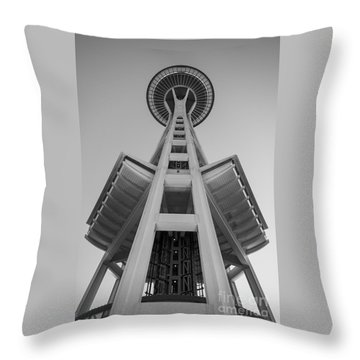 Seattle Space Needle In Black And White Throw Pillow by Patrick Fennell