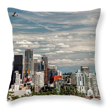 Seattle Space Needle With Mt. Rainier Throw Pillow