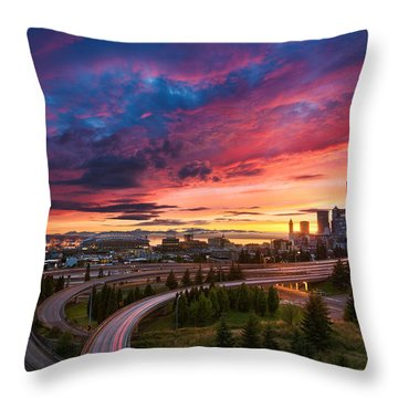 Interstate 5 Throw Pillows