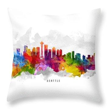 Seattle Washington Cityscape 13 Throw Pillow by Aged Pixel